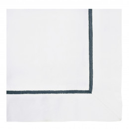 Drap JANE blanc brodé indigo