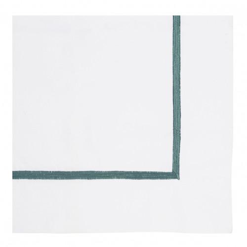 Housse de couette JANE blanc brodé émeraude - 260 x 240 cm