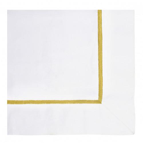 Housse de couette JANE blanc brodé safran - 260 x 240 cm