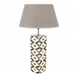 Lampe carrée ivoire et brun