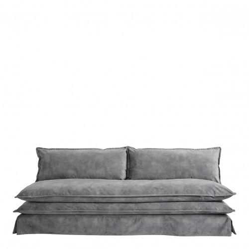 Canapé LEO velours gris clair